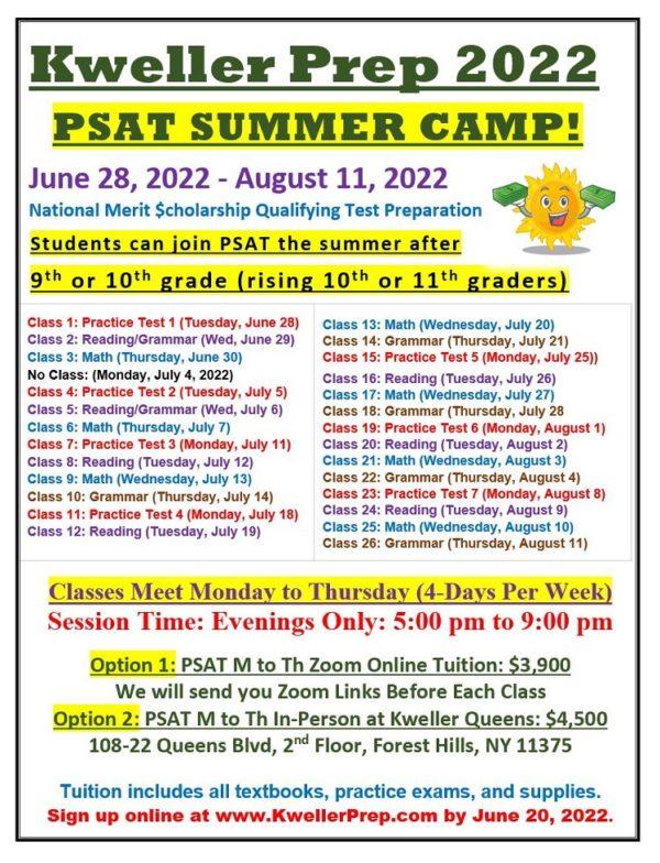 PSAT summer 2022 M to Th Weekdays